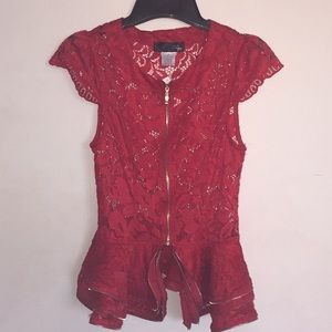 Red lace peplum blouse with zipper
